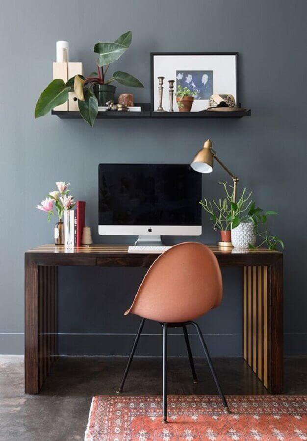 decoração simples com cadeira para home office pequeno Foto Casa de Valentina