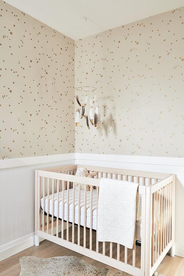 decoração simples com papel de parede delicado para quarto de bebê Foto Home Fashion Trend