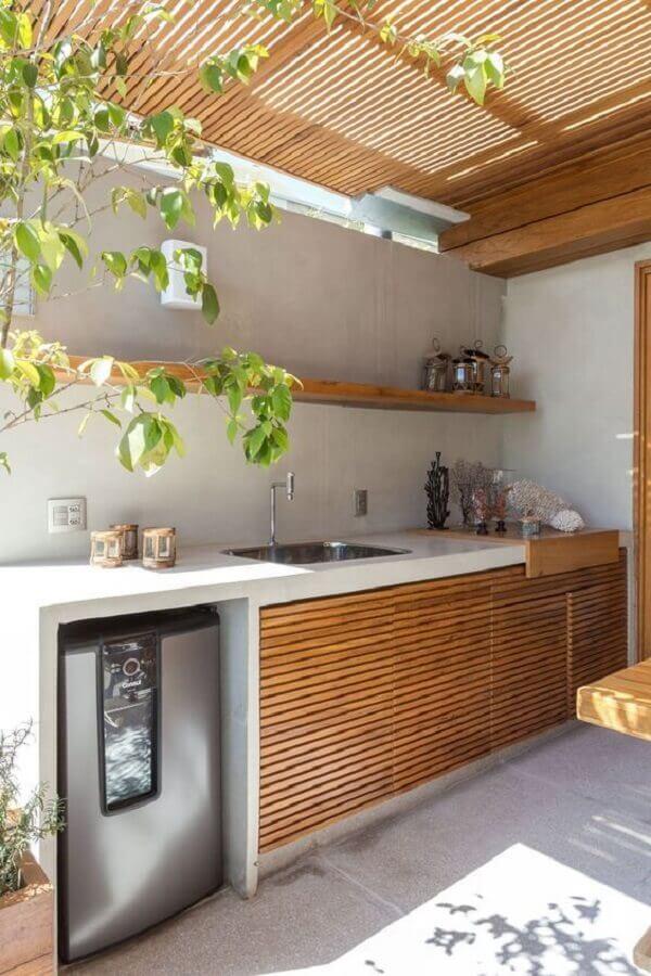 decoração simples para cozinha externa planejada Foto Arkpad
