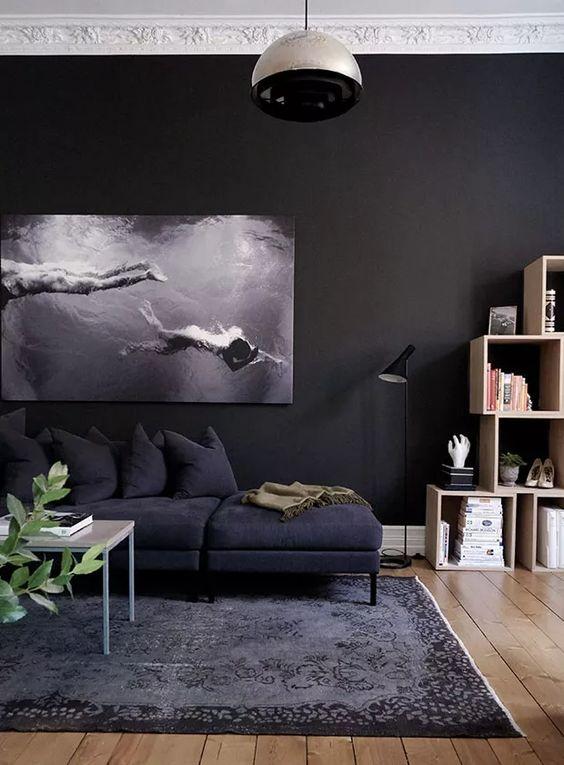 Sala em tons de cinza