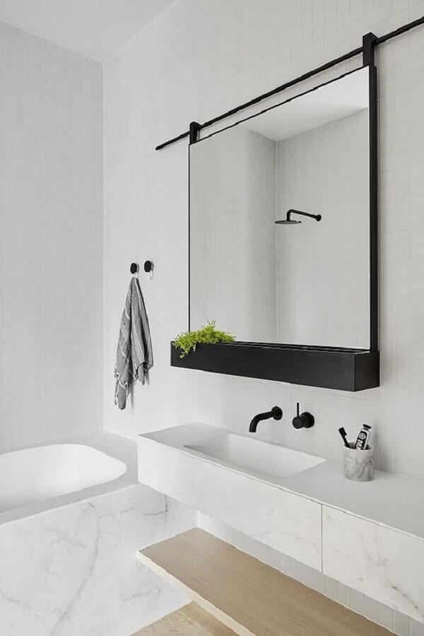 espelho com moldura preta para decoração de banheiro branco Foto Futurist Architecture