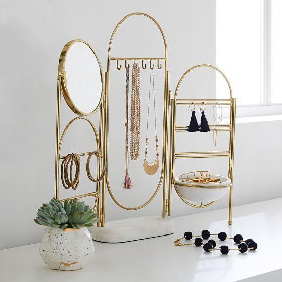 Espelho de mesa com organizador de maquiagens