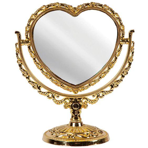 Espelho de mesa com formato de coração