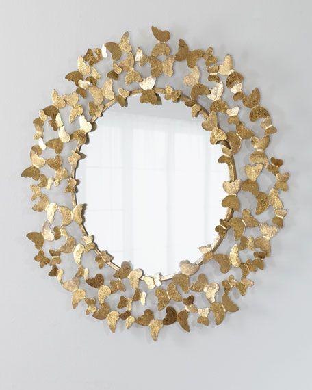 Espelho redondo dourado com borboletas
