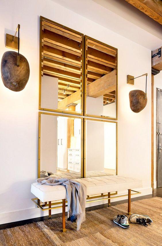 Espelhos dourados na decoração de casa