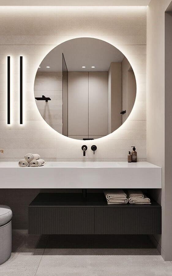 espelho redondo com led para decoração banheiro minimalista  Foto Behance