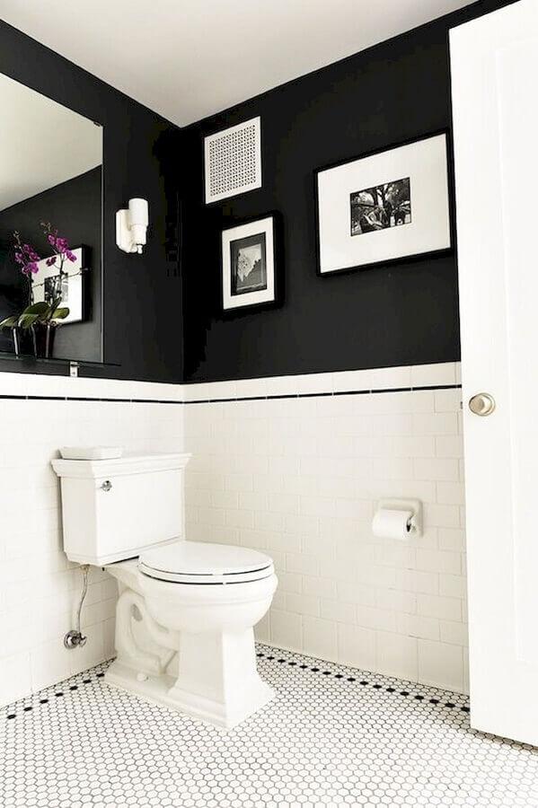 espelho sem moldura para decoração de banheiro preto e branco Foto Pinterest