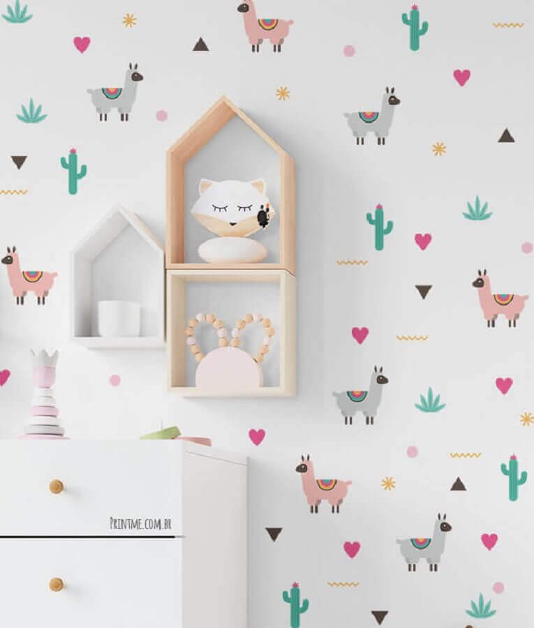 estampa lúdica para papel de parede delicado para decoração infantil Foto Printme
