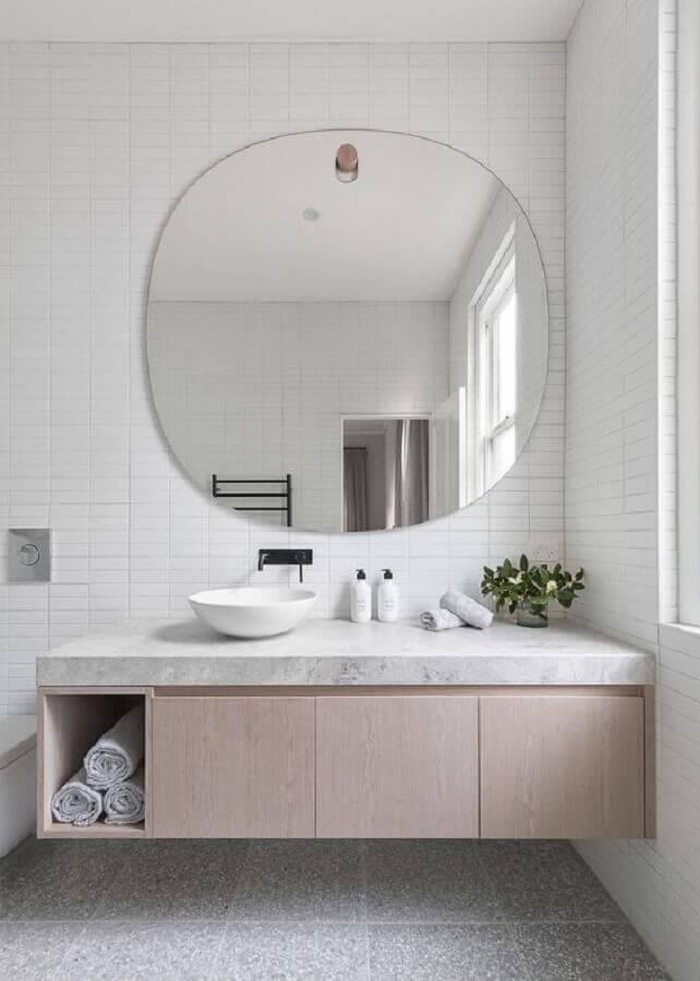 gabinete de madeira clara para banheiro minimalista branco Foto Home Fashion Trend