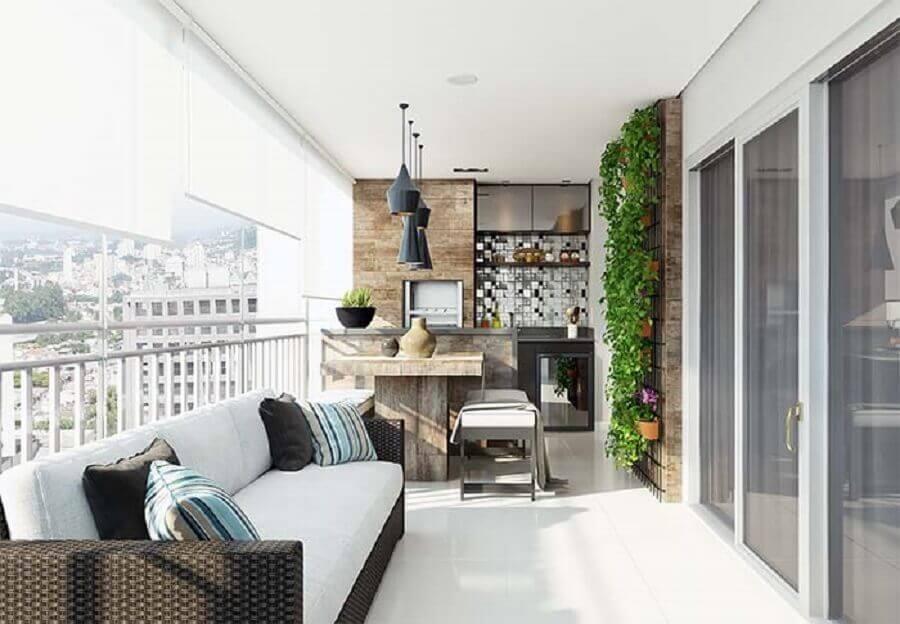 jardim vertical para decoração de varanda gourmet com churrasqueira Foto Pinterest