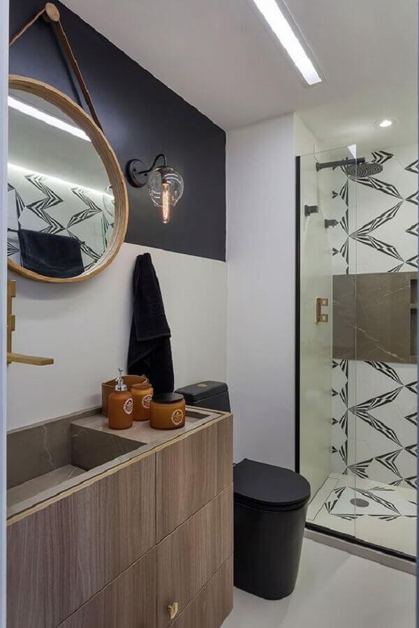 luminária de parede para banheiro moderno com espelho redondo Foto Casa de Valentina
