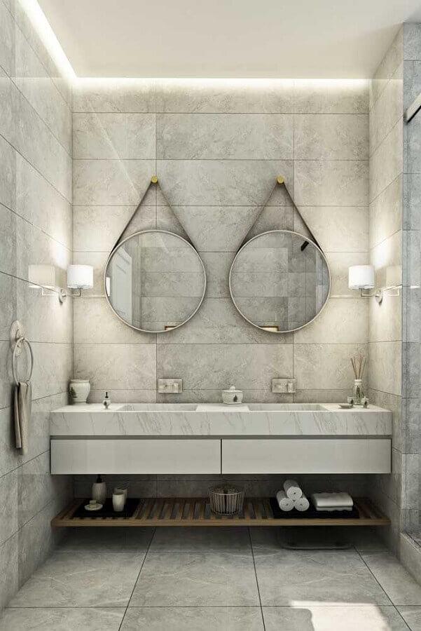 luminária de parede para banheiro moderno decorado com espelho adnet Foto Dcore Você