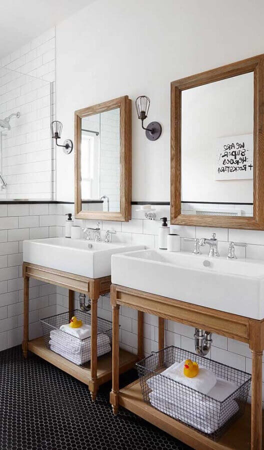 luminária para espelho de banheiro decorado com estilo retrô Foto Architecture Art Designs