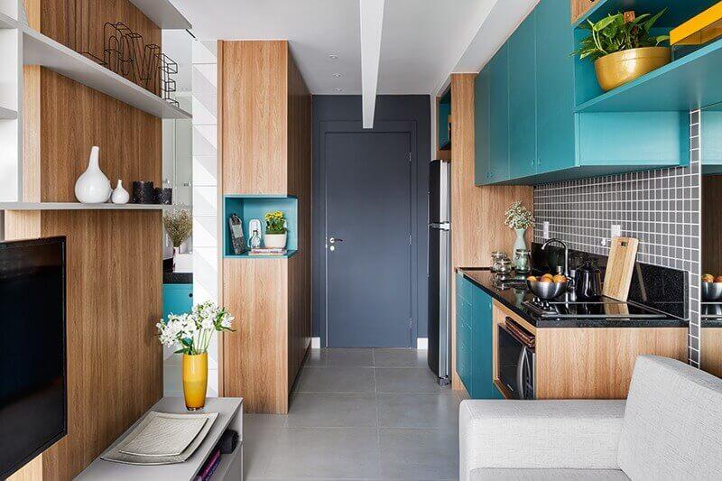 móveis planejados para decoração de sala e cozinha integrada pequena Foto Pinterest