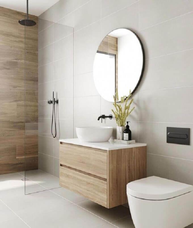 madeira clara para decoração banheiro minimalista cinza claro Foto Arquitetas Express