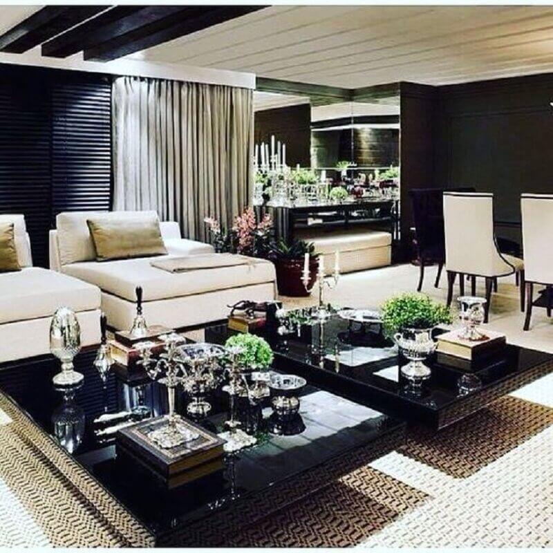 mesa de centro preta para sala ampla e sofisticada Foto Pinterest
