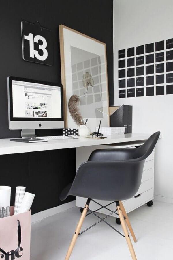 mesa e cadeira para home office decorado preto e branco Foto Dicas de Mulher