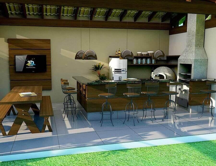modelo de cozinha externa gourmet com churrasqueira Foto Giovanna Dala Vedova Arquitetura