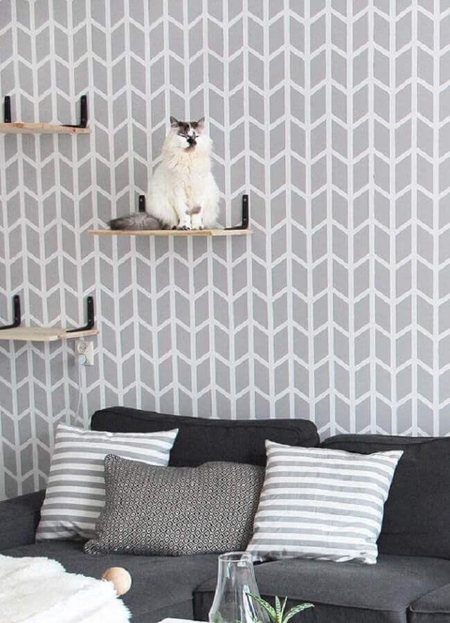 papel de parede delicado geométrico para decoração de sala cinza Foto Etsy