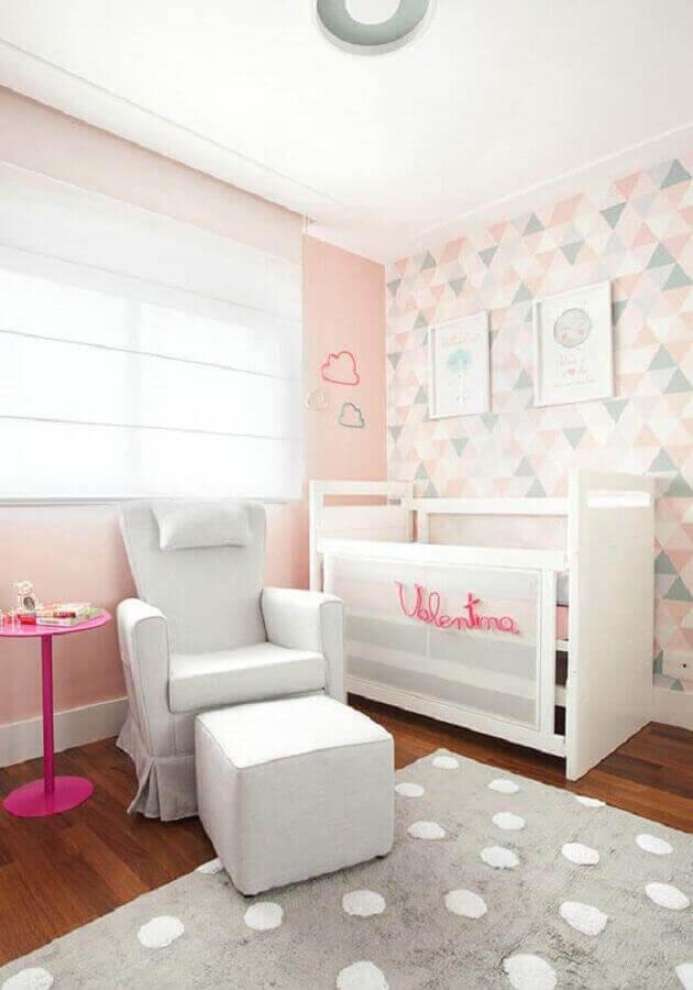 papel de parede delicado para quarto de bebê feminino branco e rosa Foto Pinterest