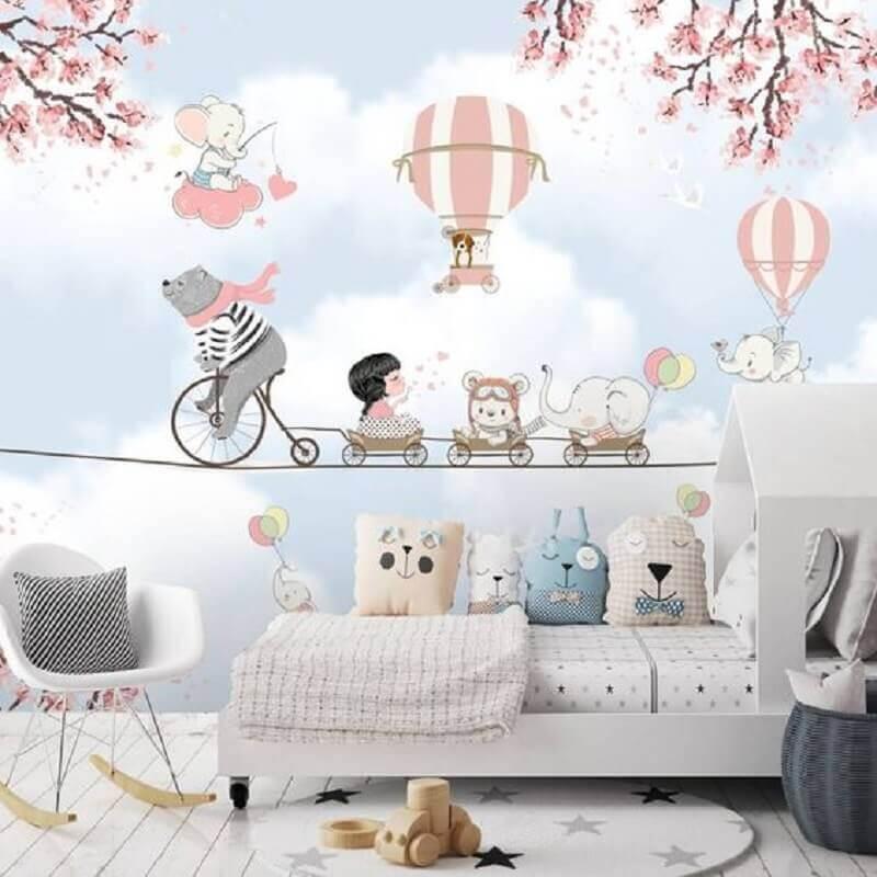 papel de parede delicado para quarto infantil com decoração lúdica Foto Arkpad