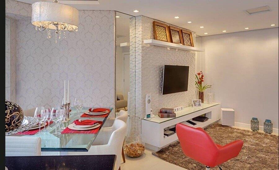 papel de parede delicado para sala de jantar e estar integradas Foto Jeito de Casa