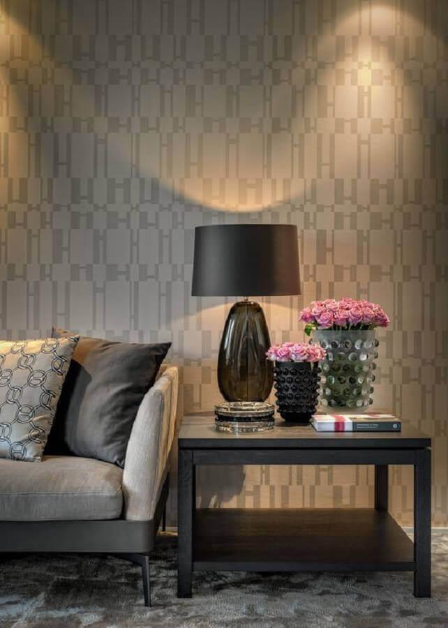 papel de parede delicado para sala decorada em cores neutras Foto Archilovers