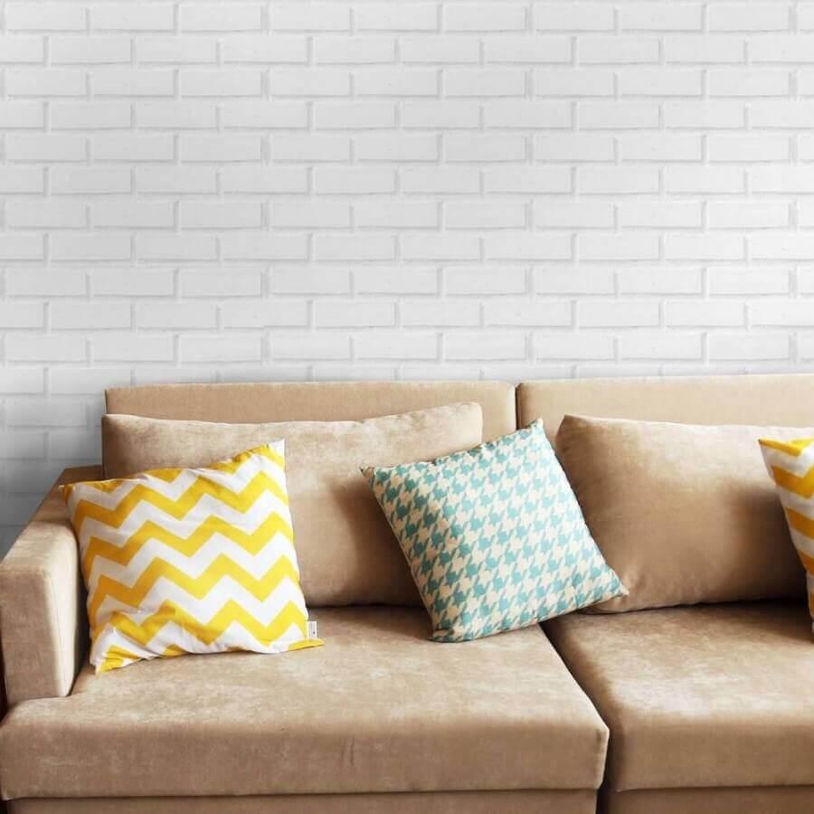 papel de parede delicado para sala simples decorada com sofá bege Foto Line Arquitetura