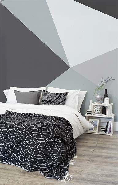 Papel de parede monocromático e geométrico em cinza