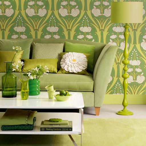 Papel de parede em tons de verde