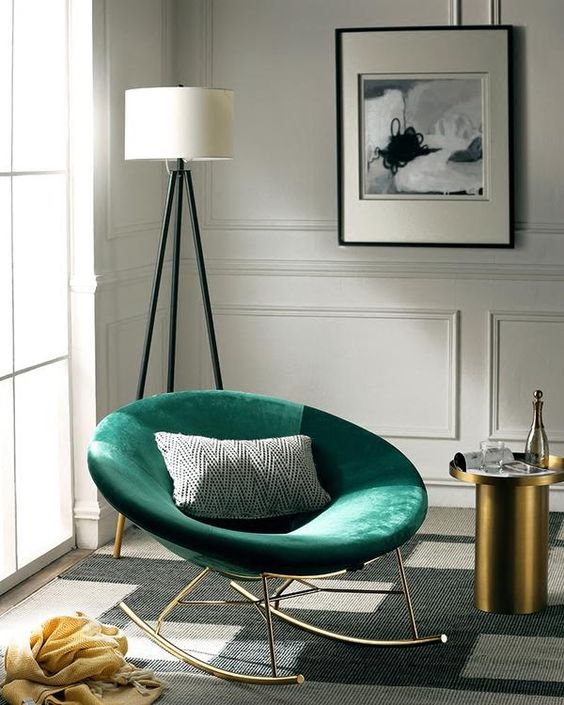 Poltrona verde estilo balanço