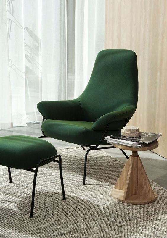 Poltrona verde esmeralda moderna
