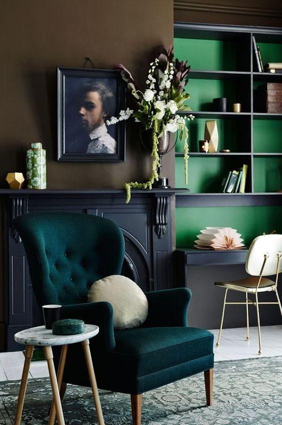 Poltrona verde na decoração moderna