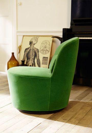 Poltrona verde para sala de estar moderna