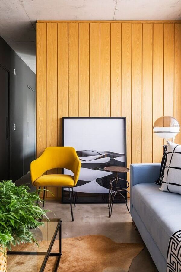 poltronas modernas para sala amarela e cinza Foto Casa de Valentina