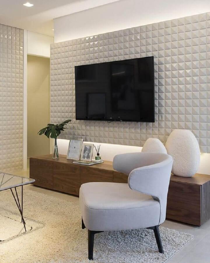 poltronas modernas para sala de tv com painel 3D Foto Pinterest
