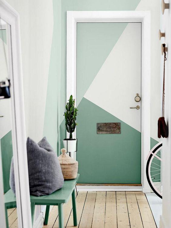Porta de quarto verde geométrica