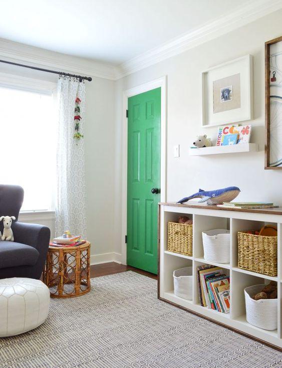 Porta para quarto verde