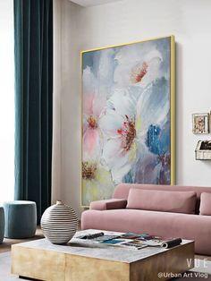 Quadros clássicos para sala com sofá rosa