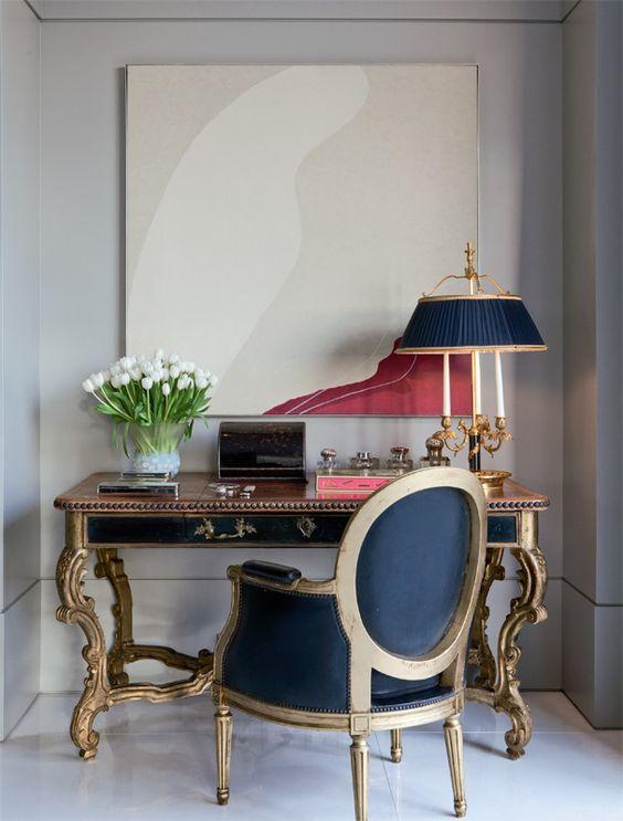 Quadros clássicos para sala em azul e dourado