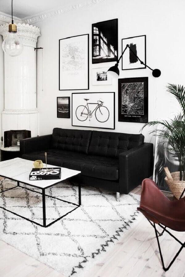 quadros decorativos preto e branco para sala de estar Foto Casa de Valentina