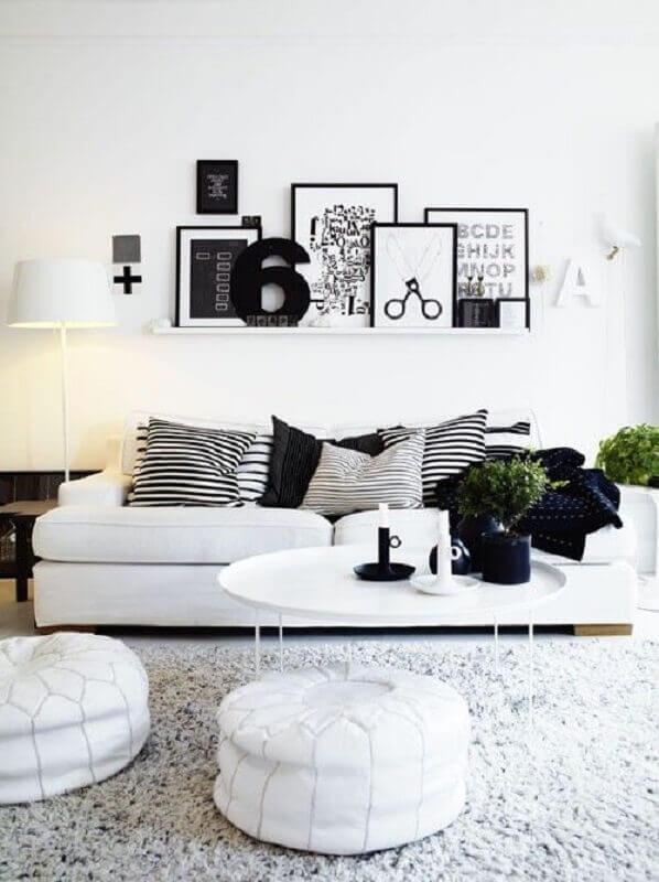 quadros e almofadas para decoração de sala preto e branco Foto Pinterest