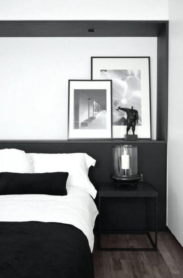 quadros para decoração de quarto minimalista preto e branco Foto Macho Moda