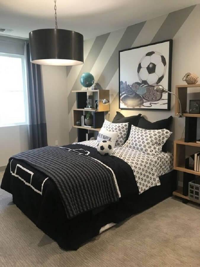 quadros para quarto juvenil masculino decorado em tons de cinza Foto Pinterest