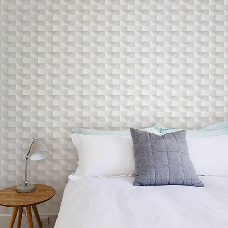 quarto decorado com papel de parede delicado 3d Foto Taboa Ferragens e Decor