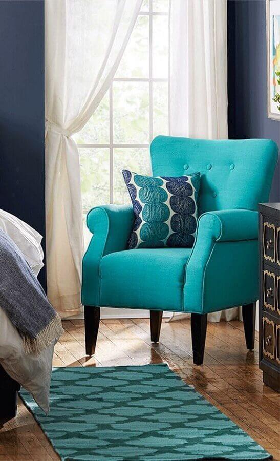 quarto decorado com poltrona azul Tiffany Foto Decoraciones Zapopan
