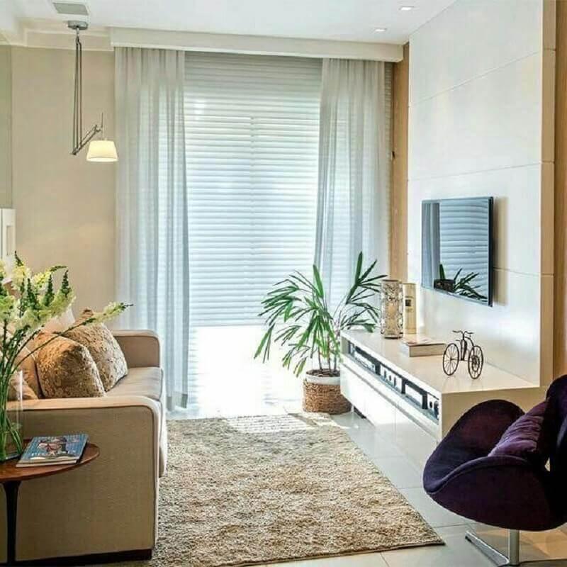 sala bege decorada com sofá 2 lugares pequeno Foto Pinterest