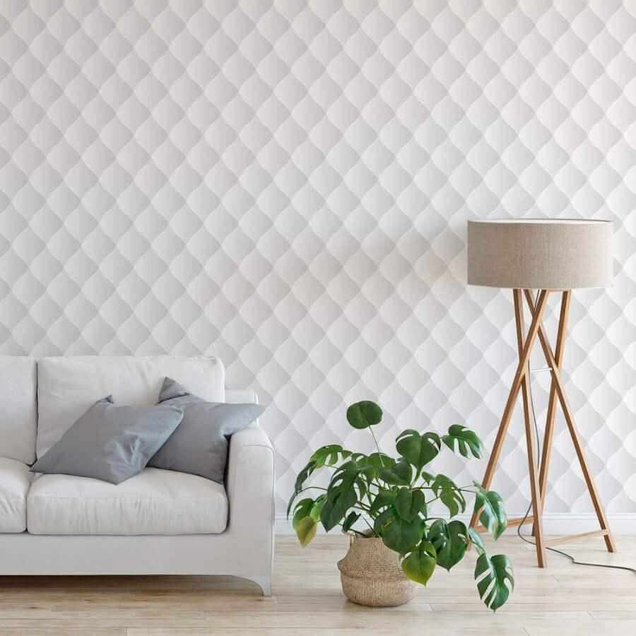 sala clean decorada com papel de parede delicado e 3D Foto Bem Colar