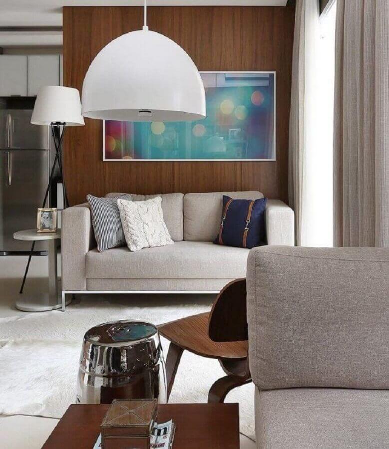 sala pequena decorada com sofá 2 lugares cinza Foto Sesso & Dalanezi Arquitetura
