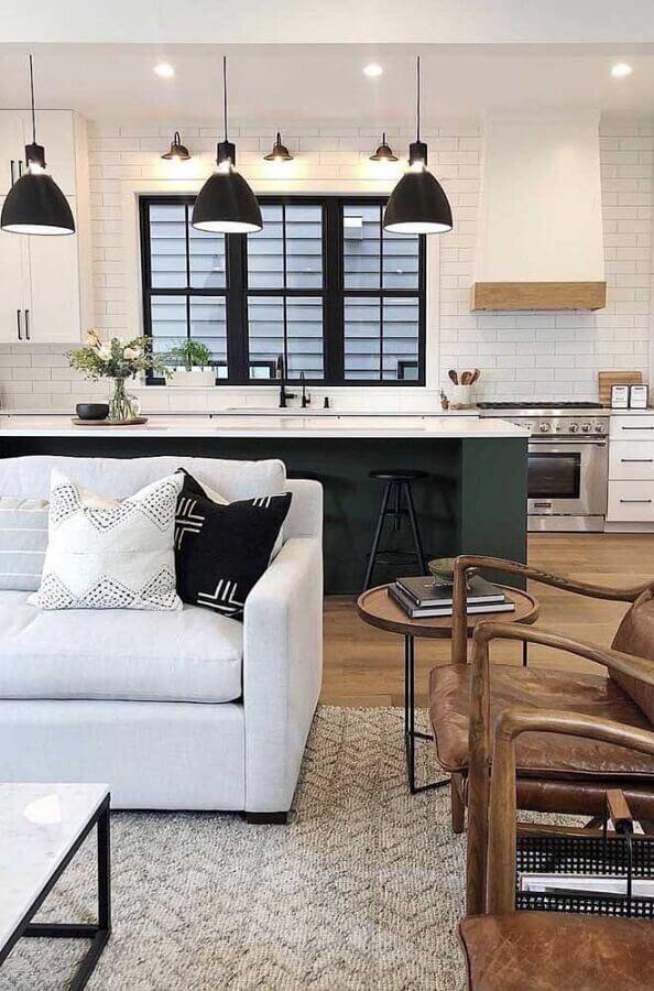 sofá branco para decoração de cozinha com ilha e sala integrada grande Foto Pinterest